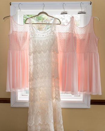 bride and bridesmaid's dresses