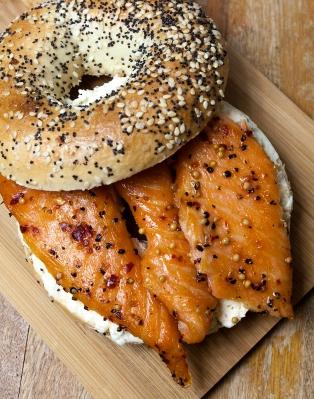 bagel, salmon, cream cheese